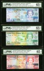 Matching Serial Number Set Cayman Islands Monetary Authority $1; $5; $10; $25; $50; $100 2010 Pick 38a; 39a; 40a; 41a; 42a; 43a PMG Gem Uncirculated 6...
