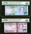 Cayman Islands Monetary Authority $1; $50 2010 Pick 38c; 42a Two Fancy Serial Number Examples PMG Gem Uncirculated 65 EPQ; PMG Gem Uncirculated 66 EPQ...