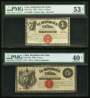 Cuba Republica de Cuba 1; 5 Pesos 1869 Pick 55a; 56a Two Examples PMG About Uncirculated 53 Net; Extremely Fine 40 Net. Previous mounting on both exam...
