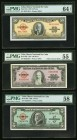 Cuba Banco Nacional de Cuba 5; 50; 100 Pesos 1954-1960 Pick 81b; 82b; 92a PMG About Uncirculated 55; Choice About UNC 58; Choice Uncirculated 64 EPQ. ...
