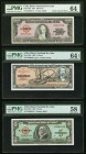 Cuba Banco Nacional de Cuba 5; 10; 100 Pesos 1954-1960 Pick 82b, 88c; 92a PMG Choice About Unc 58; Choice Uncirculated 64; Choice Uncirculated 64 EPQ....