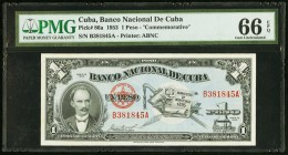 Cuba Banco Nacional de Cuba 1 Peso 1953 Pick 86a Commemorative PMG Gem Uncirculated 66 EPQ.   HID09801242017