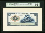 El Salvador Banco Occidental 5 Colones 1920 S194Afp Front Proof PMG Gem Uncirculated 66 EPQ.   HID09801242017