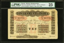 Burma Government Of India 10 Rupees 22.7.1911 Pick A5a Jhunjhunwalla-Razack 2A.2.3.D.1 PMG Very Fine 25. A pleasing example of this rare 10 Rupee note...