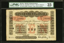 Burma Government Of India 10 Rupees 27.11.1918 Pick A5c Jhunjhunwalla-Razack 2A.2.3.D.3 PMG Very Fine 25. An attractive example of this very rare Brit...