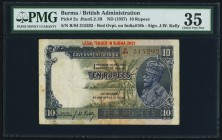 Burma Government Of India 10 Rupees ND (1937) Pick 2a Jhunjhunwalla-Razack 5.2.1B PMG Choice Very Fine 35. A desirable JW Kelly signature example, hig...