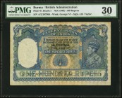 Burma Reserve Bank of India 100 Rupees ND (1939) Pick 6 Jhunjhunwalla-Razack 6.1 PMG Very Fine 30. A handsome issue that was released specifically for...