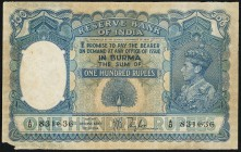 Burma Reserve Bank of India 100 Rupees ND (1939) Pick 6 Jhunjhunwalla-Razack 6.1 Fine-Very Fine. Rare in any grade and always desirable for its scarci...