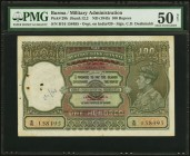 "Burma Military Administration 100 Rupees ND (1945) Pick 29b Jhunjhunwalla-Razack 5.12.2 PMG About Uncirculated 50 Net. Red overprints of the ""Military..."