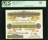 Ceylon Government of Ceylon 5 Rupees 20.1.1913 Pick 11b PCGS Very Fine 25. This is lovely mid-grade example of this oversized note that exhibits even ...