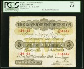 Ceylon Government of Ceylon 5 Rupees 8.12.1919 Pick 11b PCGS Fine 15. This early Ceylonese note faces up better than the grade would dictate. Fortunat...