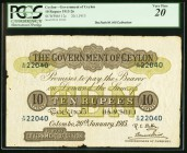 Ceylon Government of Ceylon 10 Rupees 20.1.1913 Pick 12c PCGS Very Fine 20. The January 20, 1913 issue date is not listed for Pick number though it wa...