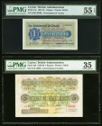Ceylon Government of Ceylon 1; 5 Rupees 2.10.1939; 26.6.1935 Pick 16c; 23b PMG About Uncirculated 55 EPQ; Choice Very Fine 35. A pair of lovely exampl...