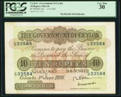 Ceylon Government of Ceylon 10 Rupees 1.6.1926 Pick 24a PCGS Very Fine 30. Overall a very nice representation of this large sized note. A strong water...