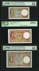 Ceylon Government of Ceylon 1; 2; 5 Rupees ca. 1942-46 Pick 34; 35a; 36 PMG About Uncirculated 53 EPQ; PCGS Choice New 63PPQ; PMG About Uncirculated 5...