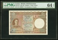 Ceylon Government of Ceylon 5 Rupees 12.7.1944 Pick 36 PMG Choice Uncirculated 64 EPQ. This mid-denomination note, from an issuer whose circulation pa...