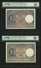 Ceylon Government of Ceylon 10 Rupees 12.7.1944 (2); 7.5.1946 Pick 36Aa, Three Examples PMG Very Fine 30 (2); Choice Very Fine 35. A moderately circul...