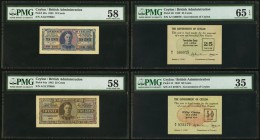A Selection of Eight Lower Denomination Notes from Ceylon. PMG Choice Very Fine 35 (2); Gem Uncirculated 65 EPQ (2); Choice About Unc 58 (3); Choice U...