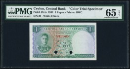 Ceylon Central Bank of Ceylon 1 Rupee 20.1.1951 Pick 47cts Color Trial Specimen PMG Gem Uncirculated 65 EPQ. A very striking small sized initial denom...