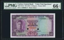 Ceylon Central Bank of Ceylon 10 Rupees ND (1951) Pick 48cts Color Trial Specimen PMG Gem Uncirculated 66 EPQ. A handsome and visually stunning Specim...