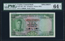 Ceylon Central Bank of Ceylon 10 Rupees 20.1.1951 Pick48s Specimen PMG Choice Uncirculated 64 Net. A nicely inked Specimen for the 1951 10 Rupees issu...