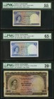 Ceylon Central Bank of Ceylon 1 (2); 100; 5; 10 Rupees 1952-54 Pick 49a; 49b; 53a; 54; 55 PMG Very Fine 25 Net (2); About Uncirculated 55; Gem Uncircu...