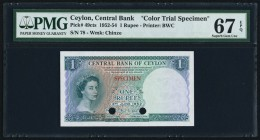 Ceylon Central Bank of Ceylon 1 Rupee 3.6.1952 Pick 49cts Color Trial Specimen PMG Superb Gem Unc 67 EPQ. Simply a beautiful creation by Bradbury, Wil...