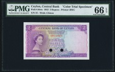 Ceylon Central Bank of Ceylon 2 Rupees 3.6.1952 Pick 50cts Color Trial Specimen PMG Gem Uncirculated 66 EPQ. A handsome and rare Specimen, accented by...