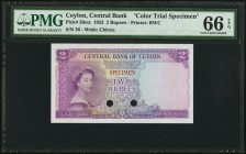 Ceylon Central Bank of Ceylon 2 Rupees 3.6.1952 Pick 50cts Color Trial Specimen PMG Gem Uncirculated 66 EPQ, 2 POCs. A high grade example of this Colo...