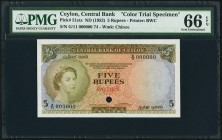 Ceylon Central Bank of Ceylon 5 Rupees ND (1952) Pick 51cts Color Trial Specimen PMG Gem Uncirculated 66 EPQ. A color variation is seen on this prefix...