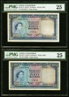 Ceylon Central Bank of Ceylon 50 Rupees 12.5.1954 Pick 52 PMG Very Fine 25(2). A pretty pair with Queen Elizabeth II on face and the distinct moon-sto...