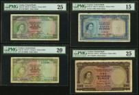 Ceylon Central Bank of Ceylon 50; 100 Rupees 3.6.1952 Pick 52; 53a PMG Choice Fine 15; PMG Very Fine 25; 10 Rupees 1.7.1953 Pick 55 PMG Very Fine 25; ...