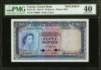 Ceylon Central Bank of Ceylon 50 Rupees 3.6.1952 Pick 52s Specimen PMG Extremely Fine 40. Printed by Bradbury, Wilkinson & Co., this attractive blue a...