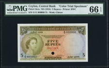 Ceylon Central Bank of Ceylon 5 Rupees ND (1954) Pick 54cts Color Trial Specimen PMG Gem Uncirculated 66 EPQ. A handsome example of this rare color tr...