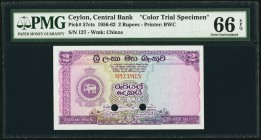 Ceylon Central Bank of Ceylon 2 Rupees 30.7.1956 Pick 57cts Color Trial Specimen PMG Gem Uncirculated 66 EPQ. A proposed color trial with the SriLanka...