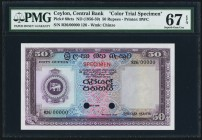 Ceylon Central Bank of Ceylon 50 Rupees ND (1956-59) Pick 60cts Color Trial Specimen PMG Superb Gem Unc 67 EPQ. A beautifully inked higher denominatio...
