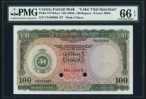Ceylon Central Bank of Ceylon 100 Rupees ND (1956) Pick 61cts Color Trial Specimen PMG Gem Uncirculated 66 EPQ. A beautiful Color Trial Specimen of th...