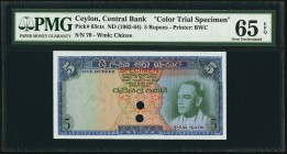 Ceylon Central Bank of Ceylon 5 Rupees ND (1962-64) Pick 63cts Color Trial Specimen PMG Gem Uncirculated 65 EPQ. Bold inks and excellent centering hig...
