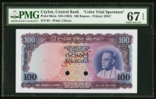 Ceylon Central Bank of Ceylon 100 Rupees ND (1963) Pick 66cts Color Trial Specimen PMG Superb Gem Uncirculated 67 EPQ. A couple of hole cancels are se...