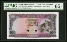 Ceylon Central Bank of Ceylon 100 Rupees ND (1966-68) Pick 71cts Color Trial Specimen PMG Gem Uncirculated 65 EPQ. A pleasing example of this Specimen...