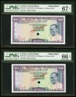 Ceylon Central Bank of Ceylon 50 Rupees ND (1972-74) Pick 79s Specimen PMG Gem Uncirculated 66 EPQ; Superb Gem Unc 67 EPQ. A pair of top tear graded S...