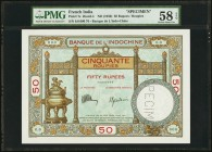 French India Banque de l'Indochine 50 Rupees / Roupies ND (1936) Pick 7s Specimen PMG Choice About Unc 58 EPQ. This beautifully designed example with ...