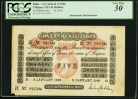 India Government of India 5 Rupees Bombay 3.1.1916 Pick A6a Jhunjhunwalla-Razack 2A.1.6.1 B.4 PCGS Very Fine 30. Similar to notes issued by the Govern...