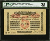 India Government of India 5 Rupees 28.11.1918 Pick A6g Jhunjhunwalla-Razack 2A.1.6.1 PMG Very Fine 25. Bold inks and bright paper are seen on this exa...