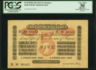 India Government of India 5 Rupees 2.2.1922 Pick A6h Jhunjhunwalla-Razack 2A.1.6.3 PCGS Apparent Very Fine 30. Another 5 Rupees note with the McWatter...