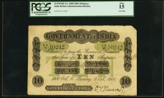 "India Government of India 10 Rupees Bombay 11.10.1900 Pick A7c Jhunjhunwalla-Razack 2A.2.1 D.4 PCGS Fine 15. A pleasing example of this early India ""w..."