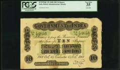 India Government of India 10 Rupees Calcutta 14.10.1901 Pick A7h Jhunjhunwalla-Razack 2A.2.1 A.9 PCGS Very Fine 35. A bright and crisp example of this...