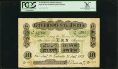 India Government of India 10 Rupees Calcutta 21.1.1905 Pick A9b Jhunjhunwalla-Razack 2A.2.2 A.2 PCGS Apparent Very Fine 20. An evenly circulated examp...