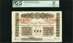 India Government of India 10 Rupees Bombay 26.8.1910 Pick A10a Jhunjhunwalla-Razack 2A.2.3 B.1 PCGS Apparent Very Fine 30. From the first issue of 10 ...