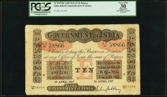 India Government of India 10 Rupees Calcutta 12.4.1917 Pick A10f Jhunjhunwalla-Razack 2A.2.3 A.3 PCGS Apparent Very Fine 30. Issued in Calcutta, the c...